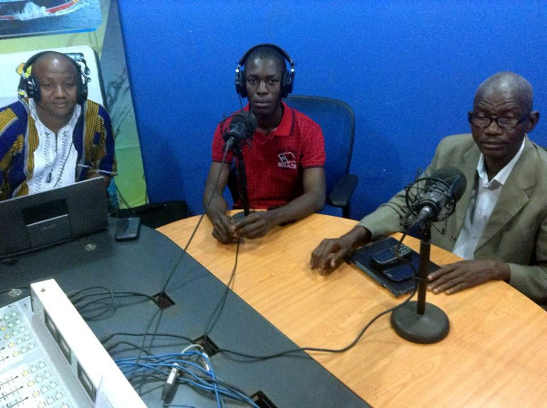(L-R) Solid Waste Expert, Jeff Nyandibo and WASH Advocate, Timothy Kpeh with Talk Show host, Solomon Ware..Talk Show by WASH R&E with support from WaterAid Liberia and Sierra Leone