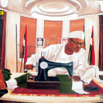 "Revolutionary art work tagged ""INSIDE ASO ROCK"" an artistic representation of what's going on inside Aso Rock Villa."
