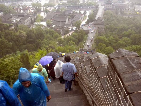 Tourists ascending and descending from the Great Wall in China