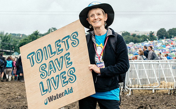Barbara Frost, WaterAid UK Chief Executive, at Glastonbury festival in June last year - courtesy of Ben Roberts-WaterAid