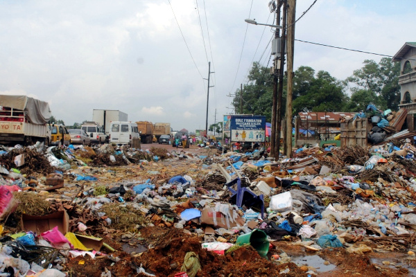 Before: Stockpile of garbage in Jacob Town, Paynesville