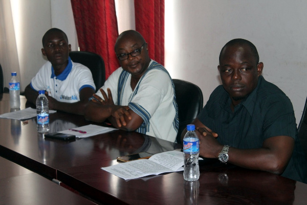 """(R-L) WaterAid Deputy Country Director, Chuchu Selma..Momo Kamara of UNDP and Timothy Kpeh of United Youth, at the launch of the Legislative WASH Advocacy Network, known as """"Champions of WASH"""""""