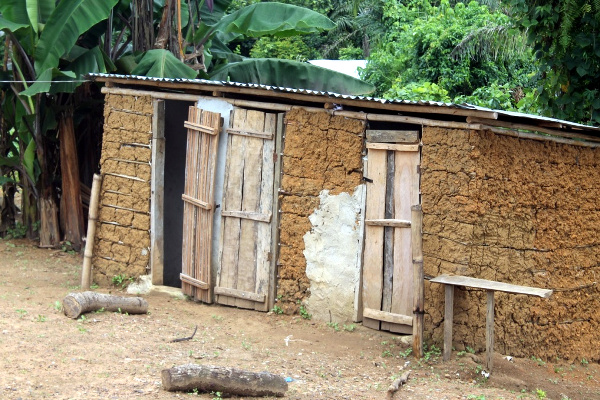 A toilet facility built by locals through CLTS Initiative