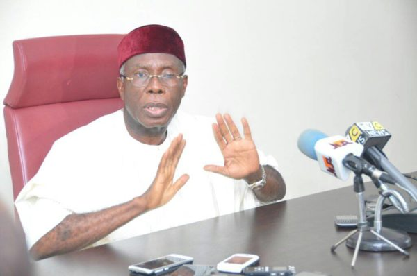 Nigeria's Minister of Agriculture and Rural Development, Chief Audi Ogbe reacting to the house stand yam export