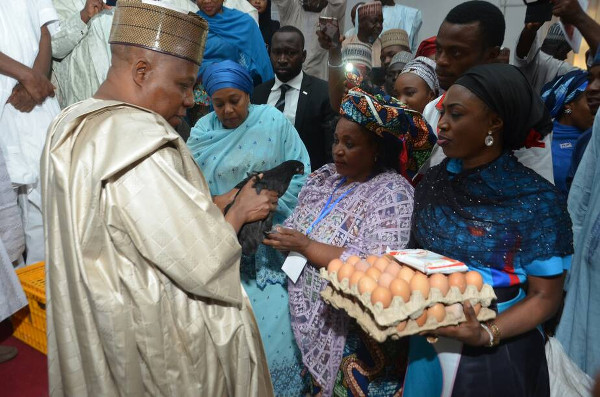 (Pix caption: Noiler Country Coordinator, Bunmi Oluwalasinu handing over natnudO noiler birds and eggs to Borno State Governor, Kashim Shettima, who presents them to the beneficiaries.)