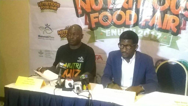 Photo: (L-R) The Country Manager, HarvestPlus Nigeria, Dr. Paul Ilona and the Chairman, Nutritious Food Fair Planning Committee, Mr. Fidelis Duker at a press conference in Lagos
