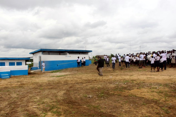 One of the newly dedicated latrine facilities in Margibi, built by Living Water International