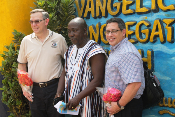(L-R) Rev. Randy Sizemore-Director of Global Ministries, Bishop G. Abraham Powell of Liberia  and Rev. Rick Seigi of U.S.A